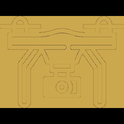 Diensten drone opnames icoon goud